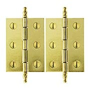 "Pair of Brass Plated Steeple Tip Hinges - 2"" x 1 7/16"" (item #R-08BM-1558X)"