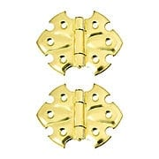 "Pair of Ornamental Flush Mount Cabinet Hinges - 1 7/8"" H x 2 1/2"" W (item #R-08BM-1563X)"