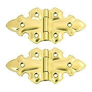 "Pair of Gothic Style Surface Cabinet Hinges - 1 3/4"" H x 3 3/4"" W (item #R-08BM-1567X)"