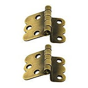 Pair of Hoosier Offset Cabinet Hinges in Antique-By-Hand - 1 1/4