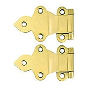 Pair of Solid Brass Gothic-Style Offset Cabinet Hinges - 1 1/2