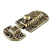 Decorative Brass Slide Latch in Antique-By-Hand (item #R-08BM-1613-ABH)
