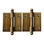 Pair of Solid Brass Ball-Tip Cabinet Hinges in Antique-By-Hand  -  1 1/2