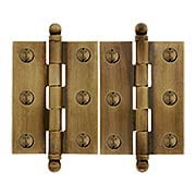 Pair of Solid Brass Ball-Tip Cabinet Hinges in Antique-By-Hand  -  2