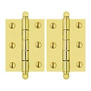 Pair of Solid Brass Ball-Tip Cabinet Hinges   -  2