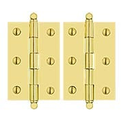 Pair of Solid Brass Ball-Tip Cabinet Hinges  -  2 1/2