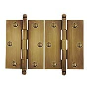 Pair of Solid Brass Ball-Tip Cabinet Hinges in Antique-By-Hand  -  2 1/2