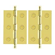 """Pair of Loose Pin Plated Steel Cabinet Hinges - 2"""" x 1 3/8"""" (item #R-08BM-1821X)"""
