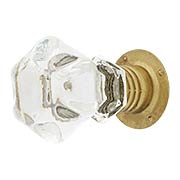 Clear Hexagonal Glass Cabinet Knob With Threaded Shank (item #R-08BM-5297)