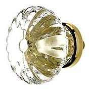 Large Ribbed Clear Glass Drawer Knob With Brass or Nickel Base (item #R-08BM-5304X)