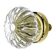 Ribbed Clear Glass Cabinet Knob With Brass or Nickel Base (item #R-08BM-5305X)