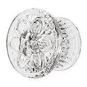 Large Pressed Glass Dresser Knob With Flower Design (item #R-08BM-5590X)