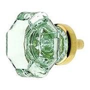 Octagonal Pale Green Glass Knob With Brass Base (item #R-08BM-5725X)
