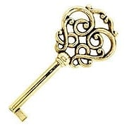 Solid Brass Drawer Key with Fancy Bow (item #R-08BM-6524-PB)