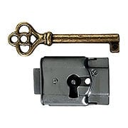 Polished Steel Full-Mortise Drawer or Cabinet Lock (item #R-08BM-6534)