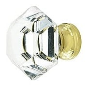 Hexagonal Cut Glass Knob With Solid Brass Base (item #R-08MH-MGMP09X)