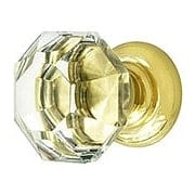 Medium Octagonal Cut Crystal Knob With Solid Brass Base (item #R-08MH-MGMP15X)