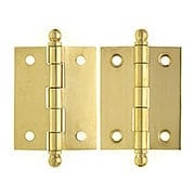 Pair of Solid Brass Loose Pin Cabinet Hinges - 2