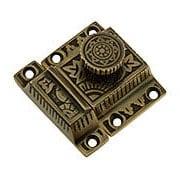 Solid Brass Oriental Pattern Turn Latch In Antique By Hand (item #R-08SE-0600010-ABH)