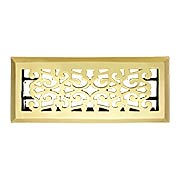 Scroll Design Solid Brass Floor Register  - With Adjustable Louver (item #RS-010Z-20233X)