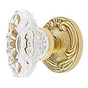 Lafayette Rosette Door Set With Fluted Oval Crystal Glass Knobs (item #RS-01BA-D02-K286A-SVNX)