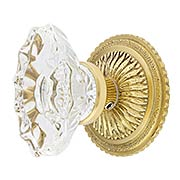 Sunburst Rosette Set With Fluted Oval Crystal Glass Knobs (item #RS-01BA-D05-K300A-SVNX)