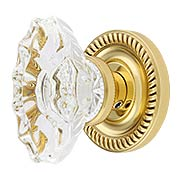 Charleston Rosette Door Set With Fluted Oval Crystal Glass Knobs (item #RS-01BA-D06-K010A-SVNX)