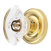 Colonial Rosette Door Set With Oval Crystal Glass Knobs (item #RS-01BA-D07-K360A-GTNX)