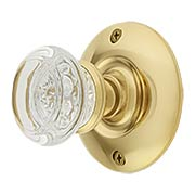 Large Brass Rosette Door Set with Round Glass Knobs (item #RS-01BM-8853-8874X)