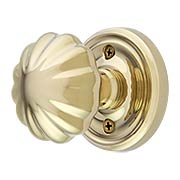 Classic Rosette Set With Fluted Brass Knobs (item #RS-01EM-8100MNX)