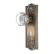 Meadows Door Set with Waldorf-Crystal Glass Knobs and Keyhole in Antique-By-Hand (item #RS-01NW-704398X-ABH)