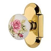 Arched Rosette Door Set with Rose Porcelain Knobs (item #RS-01NW-710925X)