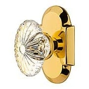 Arched Rosette Door Set with Oval Fluted-Crystal Glass Knobs (item #RS-01NW-712845X)