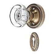 Rope Rosette Mortise-Lock Set with Round Clear Crystal Knobs in Antique-By-Hand (item #RS-01NW-716925-ABH)