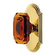 Grandeur Arc Rosette Door Set with Amber Crystal-Glass Baguette Knobs (item #RS-01NW-ARCBCAX)