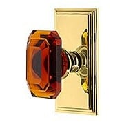 Grandeur Carre Rosette Door Set with Amber Crystal-Glass Baguette Knobs (item #RS-01NW-CARBCAX)