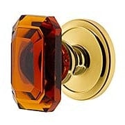 Grandeur Circulaire Rosette Door Set with Amber Crystal-Glass Baguette Knobs (item #RS-01NW-CIRBCAX)