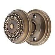Classic Rosette Door Set with Meadows Knobs in Antique-By-Hand (item #RS-01NW-CLAMEAX-ABH)