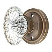 Classic Rosette Door Set with Oval Fluted Crystal Glass Knobs in Antique-By-Hand (item #RS-01NW-CLAOFCX-ABH)