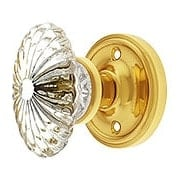 Classic Rosette Door Set with Oval Fluted Crystal Glass Knobs (item #RS-01NW-CLAOFCX)
