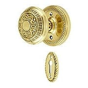 Rope Rosette Mortise Lock Set With Egg & Dart Door Knobs (item #RS-01NW-MROPEADX)