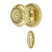 Rope Rosette Mortise Lock Set With Meadows Design Knobs (item #RS-01NW-MROPMEAX)