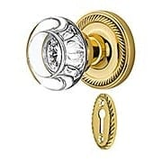 Rope Rosette Mortise-Lock Set with Round Crystal Glass Knobs (item #RS-01NW-MROPRCCX)