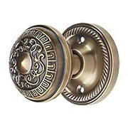 Rope Rosette Door Set with Egg & Dart Knobs in Antique-By-Hand (item #RS-01NW-ROPEADX-ABH)