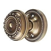 Rope Rosette Door Set with Meadows Door Knobs in Antique-By-Hand (item #RS-01NW-ROPMEAX-ABH)