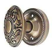 Rope Rosette Door Set With Decorative Oval Knobs in Antique-By-Hand (item #RS-01NW-ROPVICX-ABH)