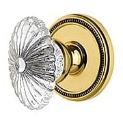 Grandeur Soleil Rosette Door Set with  Burgundy Crystal-Glass Knobs (item #RS-01NW-SOLBURX)