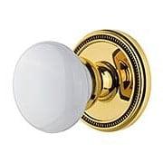 Grandeur Soleil Rosette Door Set with  Hyde Park Porcelain Knobs (item #RS-01NW-SOLHYDX)