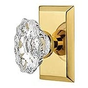New York Rosette Door Set with Chateau Crystal Glass Knobs (item #RS-01NW-STUCHAX)