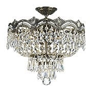 Majestic Semi-Flush Crystal Ceiling Light In Historic Brass Finish (item #RS-03CR-1483-HB-CL-MWP)